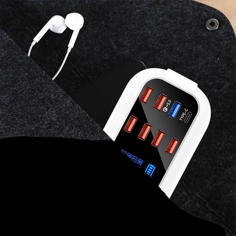 Carregador Rápido Com 8 Portas USB E Display LED